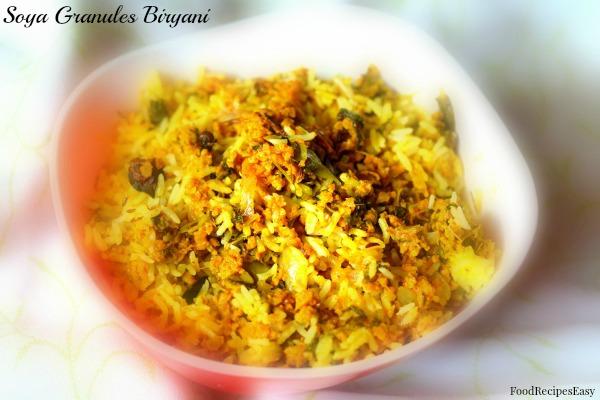 Soya Granules Biryani recipe
