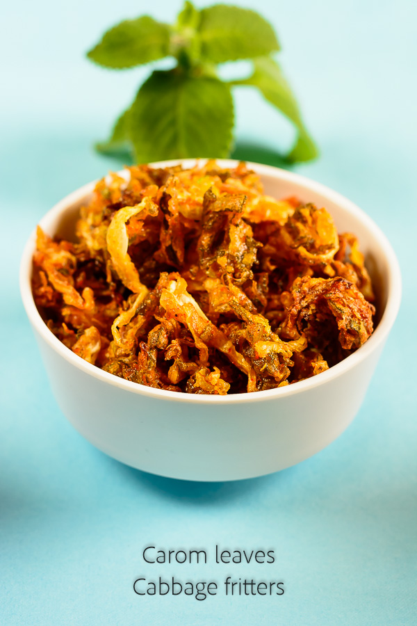 carom leaves cabbage fritters recipe